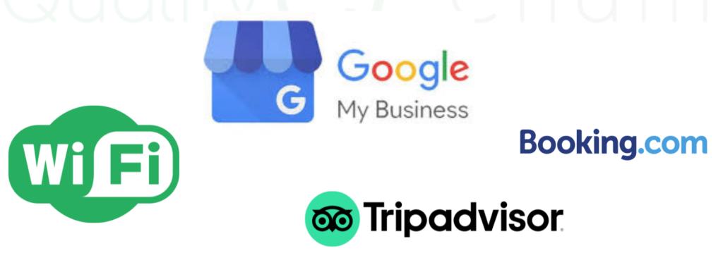 wifi, google mybusiness, booking.com, tripadvisor logos